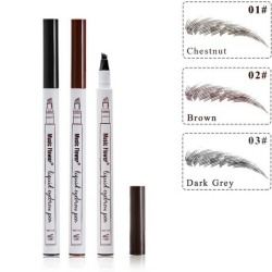 3 Colors Microblading Eyebrow Tattoo Pen 4 Head Fine Sketch Liquid Eyebrow Pencil Waterproof Tattoo Eye Brow Pen Smudge-proof